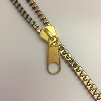 Zippband - Dragkedja Metalic - Antik Guld  Gulddrag Zipparmband