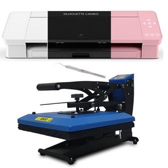 CAMEO 4 paket med press - CAMEO 4 + Press 3838 och 69 färger textilvinyl, rensverktyg samt 1 timmes komigångkurs skriv färg i noteringen