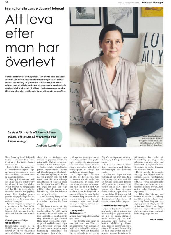 Världscancerdagen - internationella cancerdagen 2015 reportage om cancerrehabilitering och Livslustfonden Cancer i Torslanda Tidningen