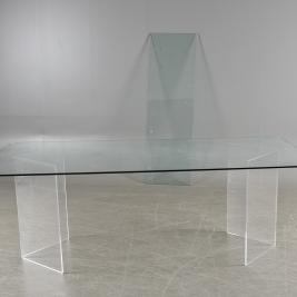Konferensbord, specialdesignat med glasskiva & underrede i plexi