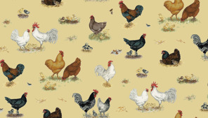 Tyg Different chickens FQ 45:- alt 139:- per meter