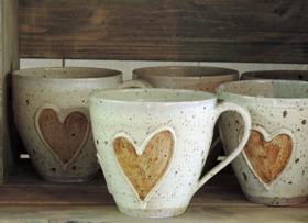 Tekopp Guldhjärta keramik