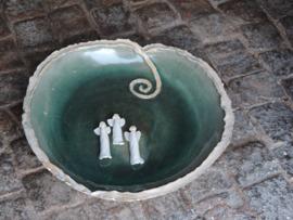 Keramikfat i turkost med vita änglar