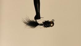 Jiggfluga Black hullinglös - Hullinglös jigg Black str 14
