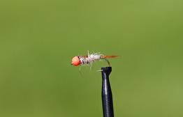 Hare`s Ear hullinglös med fl.red tungstensbead - Hare´s ear hullinglös m fl. red tungstensbead str 12