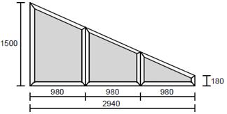 Snedskurna fasta fönster 30x15/2