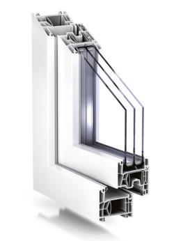 TROCAL76 PVC-fönster i genomskärning