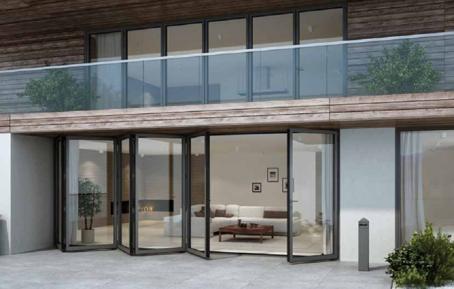 Fönsterdörrar. På bild: Vikdörrar i aluminium