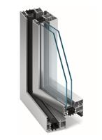 Sido/underhängt aluminiumfönster som öppnas inåt genomskärning
