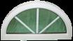 Fast halvmånefönster med spröjs 1000x500mm (3-glas)