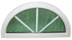 Fast halvmånefönster med spröjs 1200x600mm (3-glas)