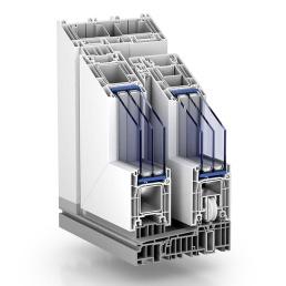 Skjutdörrar Lyx PVC-profil i genomskärning 1