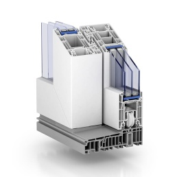 Skjutdörrar Lyx PVC-profil i genomskärning 2