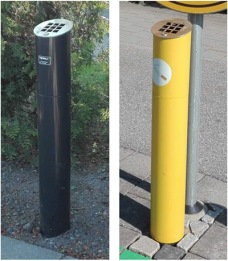 Ashtrays on bus stops, one camouflaged and one very visible