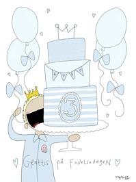Blått Personligt Födelsedagskort