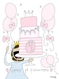 Rosa Personligt Födelsedagskort