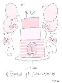 Gratulations kort- Rosa