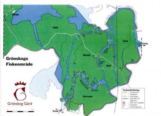 Karta över Emån på Grönskogs gård