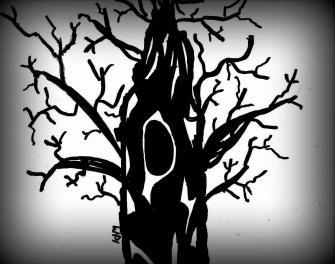 Träd i svart anda -