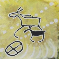 SÅLD! Älg med kalv & solsymbol 2. 2013
