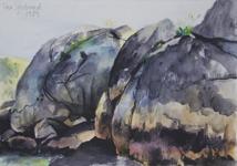 Hälsö 1989 Akvarell Privat ägo