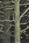 Träd i höstskymning Sandspåret Hjällbo 19990 Akvarell Privat ägo