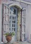 Franska dörrar Frankrike 1997 Akvarell Såld!