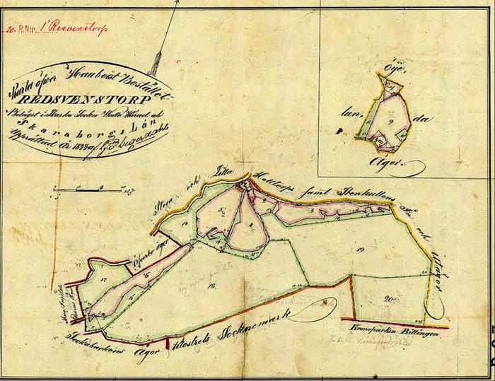 """A. 3 (karta 1) Endast digital bild! Detta är de gränser som fastställdes i rågångsutstakningen 1830 - den är gjord åren efter undertecknandet av rågångsutstakningen. Redan då hängde Lilla och Stora Hålltorp ihop med Stenhammarens in- och utägor, som gränsar i norr och öster - även om lantmätaren på den här kartan råkat skriva Stenkullens in - och utägor. Hammare = Kulle vid tiden i språkbruket. Hauboist; är en militärmusiker som trakterade blåsinstrument - dvs ett annat ord för """"Pipare"""" Boställe. Kartan anger delvis felaktigt att """"Torpet till Resvenstorp"""" omges av Ögelunda ägor. Istället finns i angränsande äga soldattorp Nr 327 som tillförts Lilla Hålltorp och Öglunda Stommens rusthåll! Området ligger i Ljungstorp som en tilldelning till Resvenstorp efter skiftet av Billingeliderna. Insatt av Kent Friman, 2014-02-25. Läs mer på www.ljungstorsphistoria.se!"""