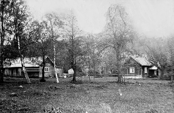 """A. 30 (1) Hålltorps kvarn mjölnarbostad 1929. Här är Hålltorps kvarns bostadshus, ladugård, uthus och med kvarnbyggnader som skymtar i bakgrunden på andra sidan bäcken som då gick mellan kvarnen och dåvarande boplats. Bilden tagen troligen 1929, dvs exakt 10 år innan samtliga byggnader inklusive kvarnen revs och fick ge plats för Tre Bäckars byggnadskomplex. Bilden tagen ett bit söder om nuvarande riksväg 49 - i stort sett från Tre Bäckars nuvarande infartsport. Själva transportvägen till kvarnbyggnaderna gick från dåvarande Skövdevägen mer österut, i gränsen för Stenhammarens ägor, och korsade bäcken med hjälp av en liknande kalkstensvälvd bro som vid """"stora vägen"""" för att nå kvarnen på den södra sidan av bäcken - se nedan! (Bild och information förmedlad 2013 av Bengt Jonsson, född i Ivarstorp 1931). Insatt av Kent Friman, 2014-02-24."""