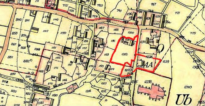 """A. (karta 1) Endast digital bild! Karta 1844 med rött markerat den gamla hustomten - nu bestämd att utflyttas! """"Borregårdens tomtplats med hus och trädgård"""" samt utmed kyrkogatan den nya marken efter skiftet för Klockarebohlet AA. Detta inköptes senare av kyrkostämman 1876 av Sven Ferm för att användas som småskola. Möjligen kan man tro att det gamla boningshuset för Borregården fick stå kvar och övergå via Junkragården till Klosterdahl, då det är placerat på kartan exakt där Klosterdahl sedan återfinns. Insatt av Kent Friman, 2014-02-17. Läs mer på www.saj-banan.se!"""