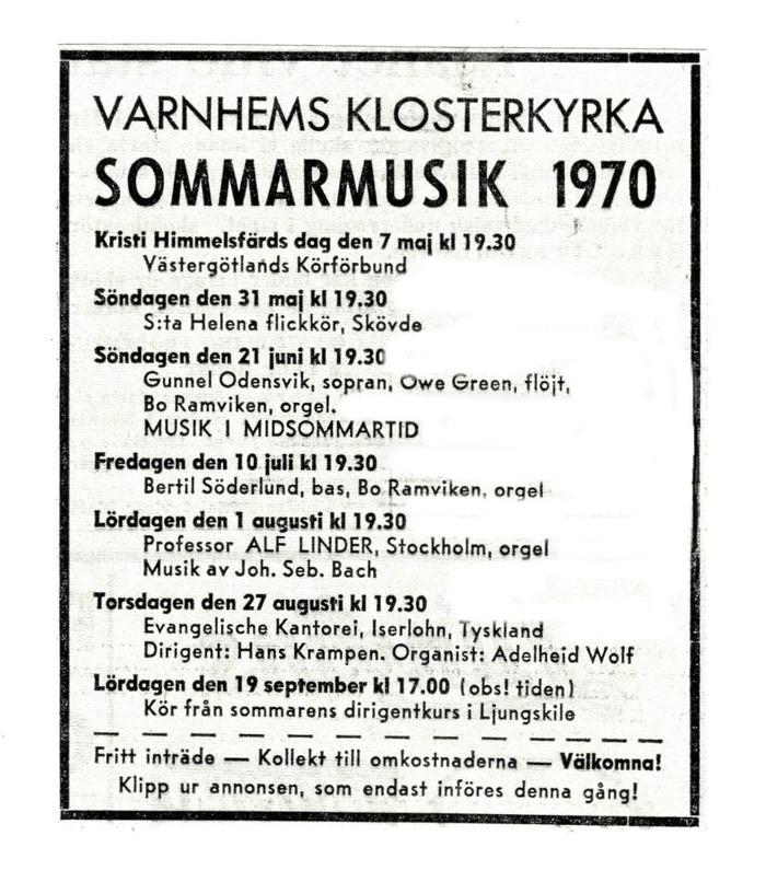 Annons införd inför sommarmusikens allra första sommar.