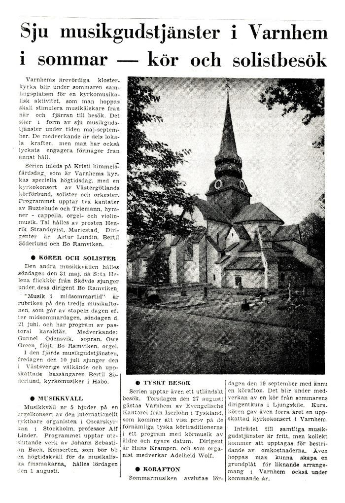 Artikel införd inför den första Sommarmusiken i Varnhem 1970.