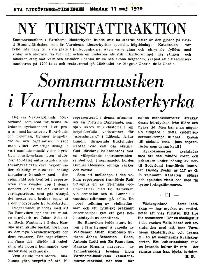 Artikel införd i Nya Lidköpingstidningen måndagen den 11 maj 1970.