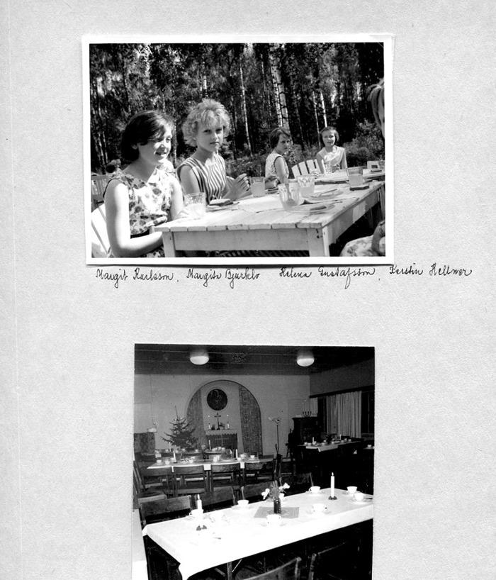Sid 37. Namnen framgår av kartongen - hemvist se ovan! En interiörbild av fösamlingshemmet dukat för kaffekalas. Inkskrivet av Kent Friman, 204-05-28.