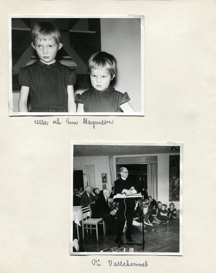 Sid 12. Bild 1: - se kartongen för namn! ........... Bild 2: Harald Bjurklo visar bilder på Vallehemmet. Inskrivet av Kent Friman, 2014-05-30.