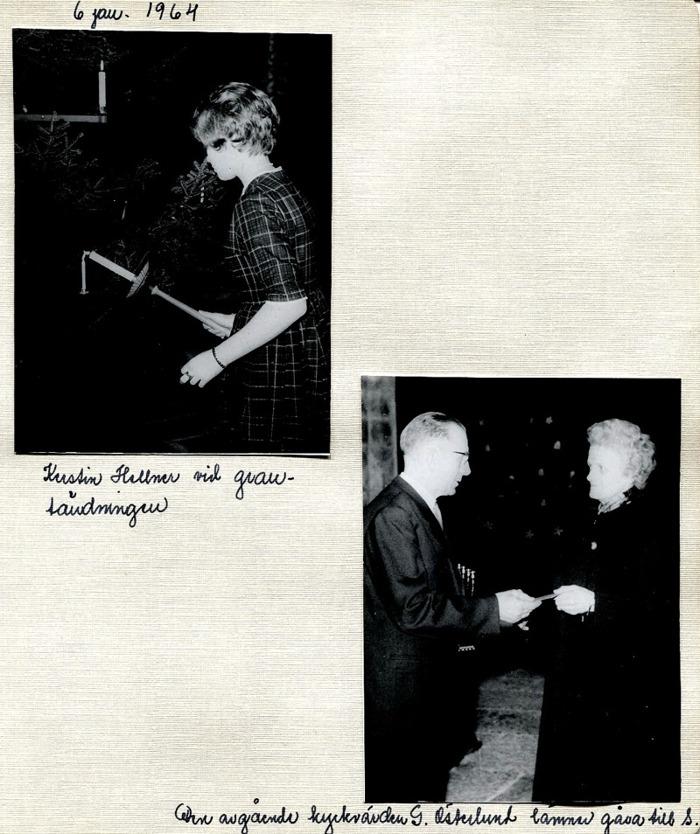 Sid 17. Nedre bild; Handlanden Gustav Österlund tackar för sig som kykrvärd genom att lämna en gåva till Söndagsskolan genom Marigt Bjukrklo. Inskrivet av Kent Friman, 2014-05-30.