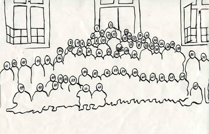 F. 0 (5) Gäller ovanstående bild: Följande nummer är ifyllda; 1. Ingrid Blomkvist, 2. Håkan Gabrielsson, 6. Knut Johansson, 9. Lars Berner, 10. Ivar Sköld, 11. Gunnar Persson, 12. Anders Pettersson, 13. Annie Andersson (Blad), 17. Eleonora Broström (Holm), 22. Elsa Johansson, Vasen, 25. Valborg Karlsson (Grönhagen), 30. Karl Henry Lindkvist, Ängarås, 31. Gunnar Johansson, Nytorp, 33. Oskar Holmberg, 42. Harry Lindkvist, Evertslund, 43. Sven Johansson, Vasen, 44. Gösta Pettersson, Ledsgården, 45. Bertil Roth, Ledsgården, 46. Sven Pettersson, Klevens såg, 60. Ingemar Gabrielsson, 61. Karin Timberg, 65. Alf Karlsson, Larstorp. Insatt av Kent Friman, 2014-03-03.