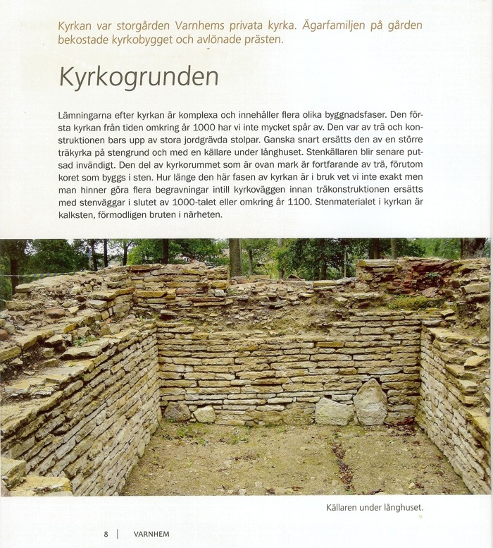 """Sida ur """"Varnhem - innan munkarna kom"""", Västergötlands Museum, copyright"""