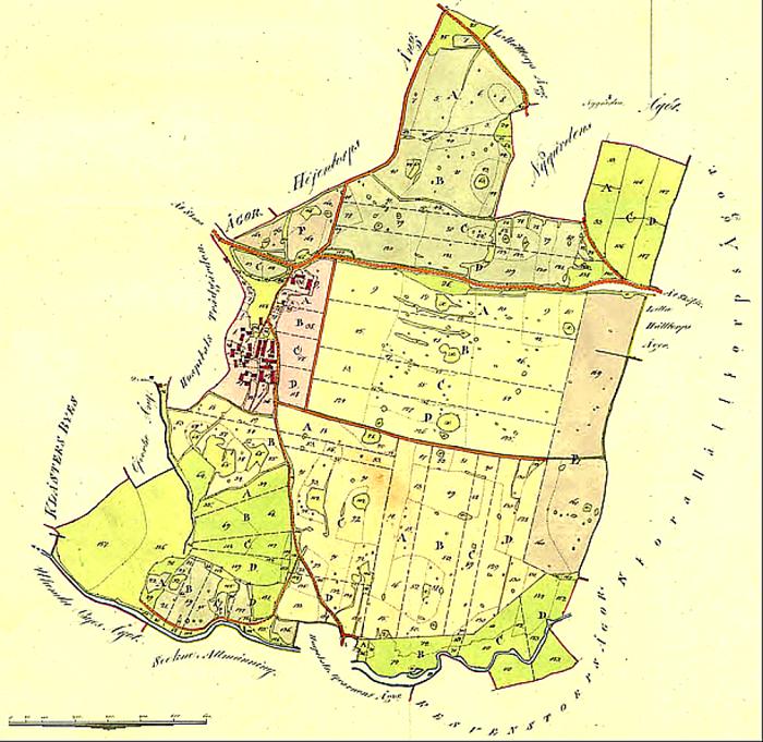 Öfwerbo By - karta med storskiftet 1815. Lantmäteriet Historiska Kartor.