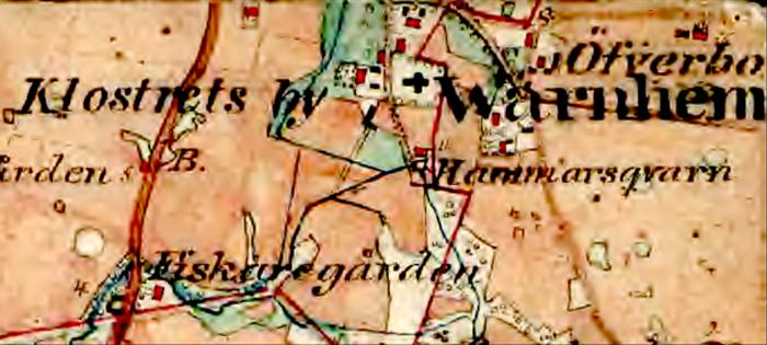 Lantmäteriet Historiska kartor 1877 Klosters och Öfverbos byar med Sörgården något sydost om kyrkan
