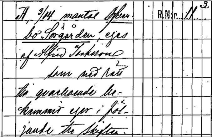 Ur akt nr: 16-VBH-115 1895 Hemmansklyfning Sörgården. Lantmäteriet Historiska Kartor.