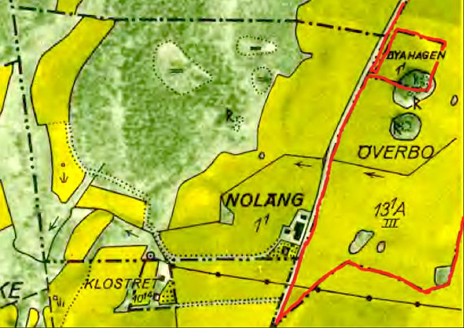 1960 års karta visar att markbeteckningarna ligger kvar sedan mer än 100 år tillbaka. Här inom Backas ägor utmed Öglundavägen.
