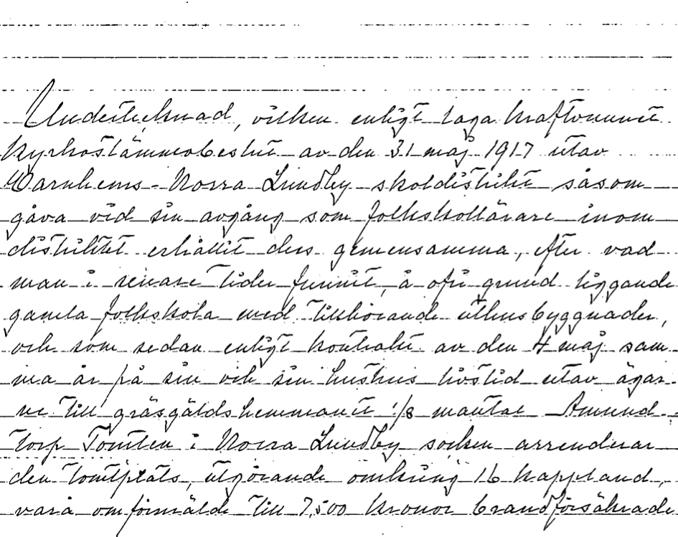 Sid 1 av 2 av avskrift ansökan om förrättning enligt ensittarlagen 1926. Ur Blomqvists samling via Astrid Blomqvist, Tomten, 2015