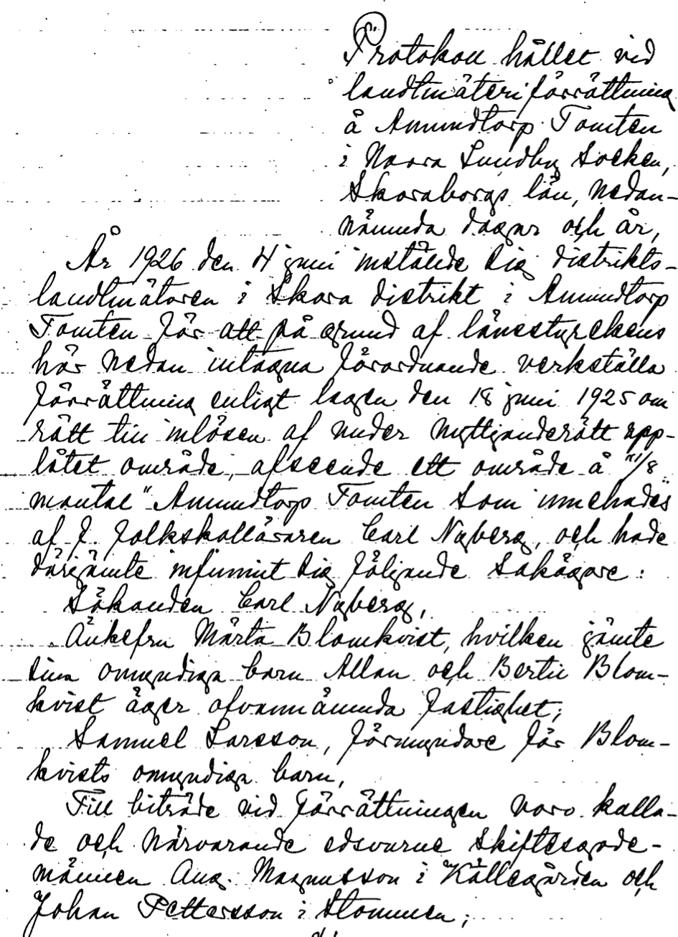 Lantmäteriet Historiska Kartor - förrättningstext sida 1 av 6.