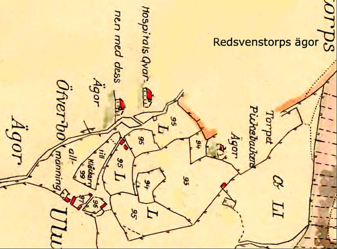 Så här markerades Smedsgårdens Ryttarboställe på 1794 års karta. Bostället finns beskrivet i texten som Nr 97 = Smedsgårdens Ryttaretorp. Karta 1794 som underlag till storskiftet 1803 av Billingelider