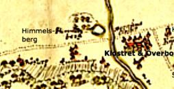 Karta Himmelsberg år 1659. Ser ut som en markerad sjö vid Himmelskällan. Klicka på kartan för större bild!