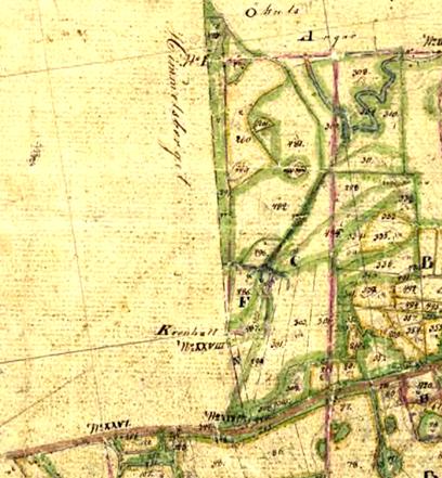 Karta 1838 över Himmelskällan på Ulundas mark med utritad körväg (X) och kurplatsen utmärkt. F= Himmelskällan med bl a Ledsängen 299 och Ledsängsmossen 486.