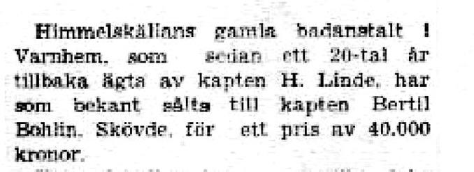 Tidningsklipp från okänd tidning.
