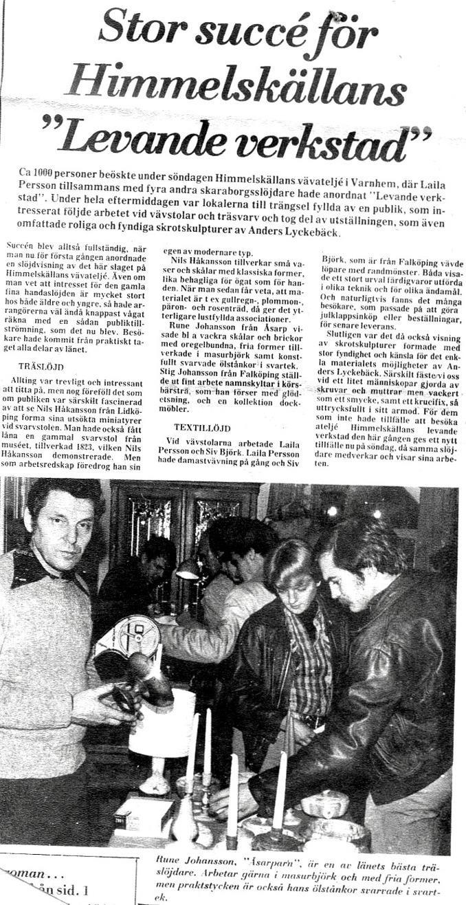 SLA 9-12 1975. Urklipp från Maria & Fernando's historiesamling, Himmelskällan, 2015