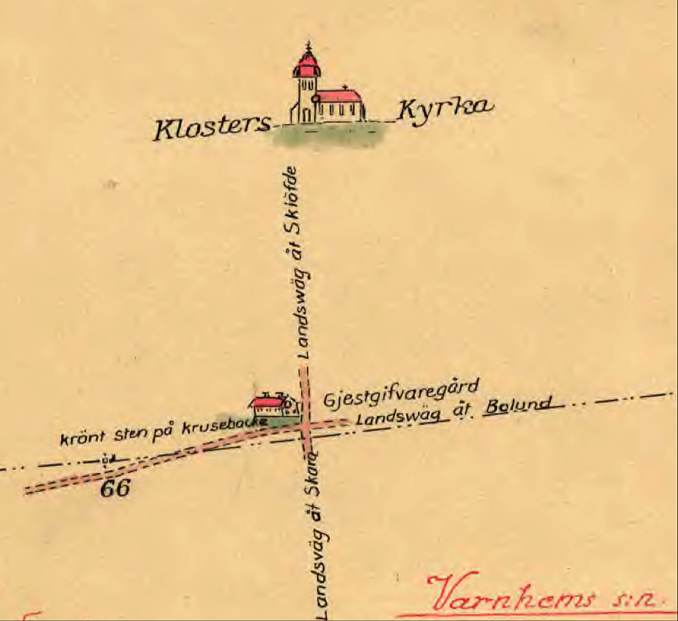 Lantmäterikarta med akvareller inför storskifte i Billingeliderna 1803 - användes som referenspunkter